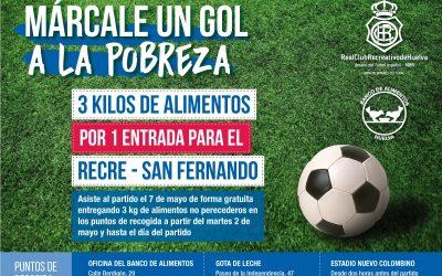 El Banco de Alimentos canjea alimentos por entradas para ver el Recreativo-San Fernando el próximo día 7 de mayo