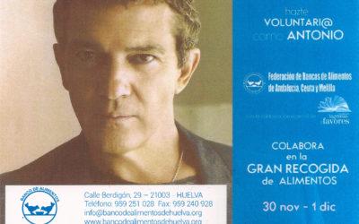 El actor Antonio Banderas será la imagen de la Gran Recogida de Alimentos 2018 en Andalucía, Ceuta y Melilla